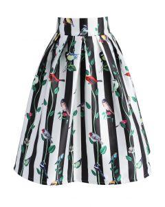 Birdie Choir Striped Midi Skirt
