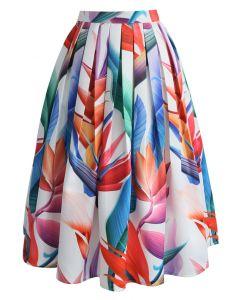 Florid Strelitzia Printed Midi Skirt