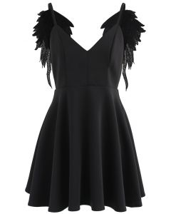 Angel's Wings Cami Dress in Black