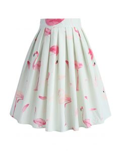 Refreshing Flamingo Pleated A-line Skirt in Mint