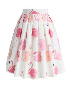 Flaming-rose Pleated A-line Skirt