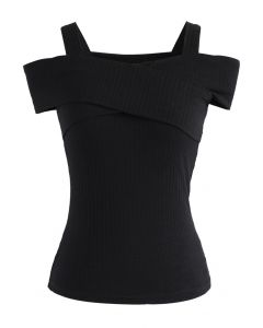 Undeniably Loveliest Cold-shoulder Wrap Top in Black