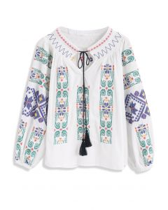 Color Tribe Cross-stitch Embroidered Top in White