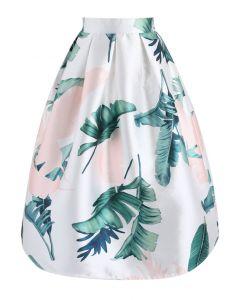 Summertime in Palm Printed Midi Skirt