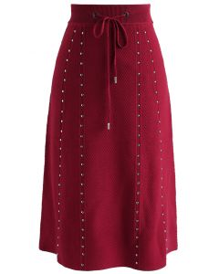 Gallant Embossed Knitted A-lined Skirt in Red