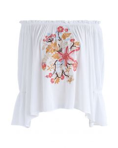 Embroidery for Romance Off-Shoulder Top in White