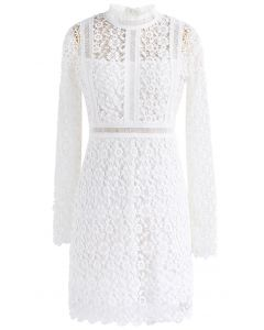 Ladylike Floral Crochet Panelled Shift Dress in White