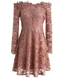 Precious Love Floral Crochet Off-Shoulder Dress in Pink