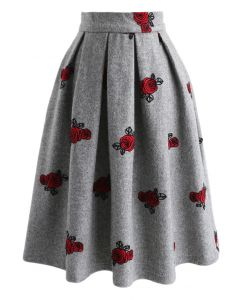 Dancing Roses Embroidered Wool-blend Skirt in Grey