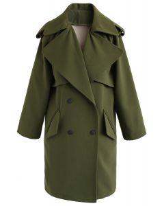Trendy Sensation Double Breasted Trench Coat in Green