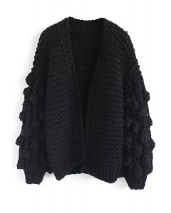 Cuteness on Sleeves Chunky Cardigan in Black