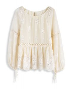 Cheering Circles Floral Embroidered Chiffon Top in Cream