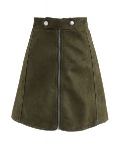 Chic Move Faux Suede A-Line Skirt in Olive