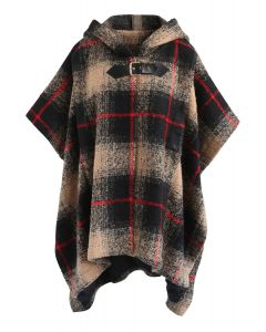 Cozy Tribe Check Hooded Wool-Blend Cape in Tan