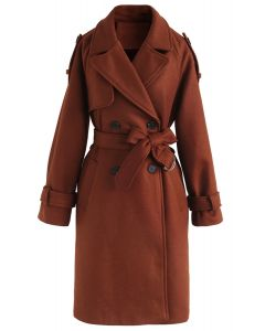 Snug Double-Breasted Wool-Blend Coat in Caramel