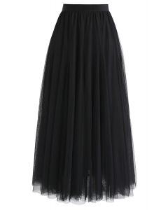 My Secret Garden Tulle Maxi Skirt in Black