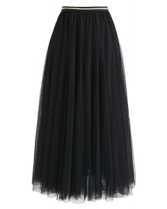 My Secret Weapon Tulle Maxi Skirt in Black