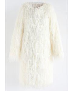 My Chic Faux Fur Longline Coat in Ivory