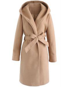 Cozy Trip Hooded Open Front Longline Coat in Tan
