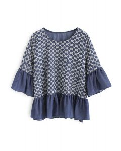 Flower Rotation Embroidered Dolly Top in Navy