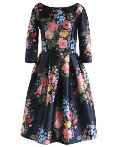 Compelling Bouquet Printed Midi Dress