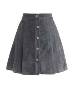 Catch Your Eyes Faux Suede Pleated Skirt in Grey
