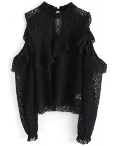 Intriguing Lace Cold-Shoulder Top in Black