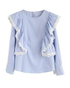 Love Your Stripes Ruffle Smock Top in Blue
