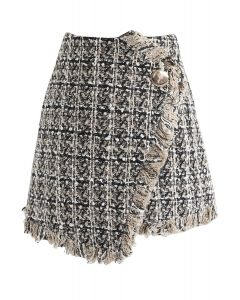 Glittery Grid Asymmetric Tweed Flap Skirt in Tan