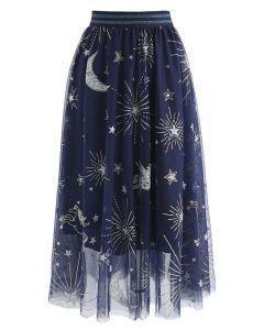 Myth Of Stars Mesh Tulle Midi Skirt in Navy