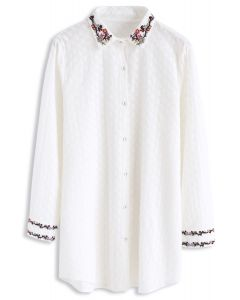 Intoxicating Flower Branch Embroidered Cotton Shirt