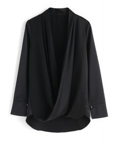 Hit The Spot Wrap Top in Black