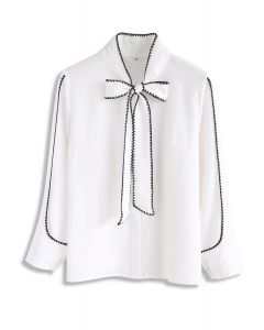 Tie Up A Bowknot Shirt in White