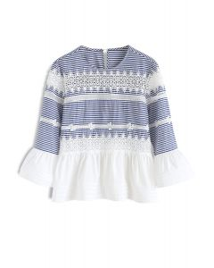 Surpassing Crochet Peplum Top in Blue Stripe