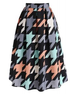 Colorful Houndstooth Texture A-Line Skirt