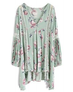 Redolent Rose Flow My Way V-Neck Tunic in Mint