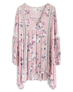 Redolent Rose Flow My Way V-neck Tunic in Pink