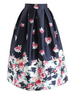Gone With Rose Printed Midi Skirt in Navy