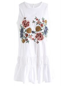 Birds Fly in Blooms Sleeveless Embroidered Dress