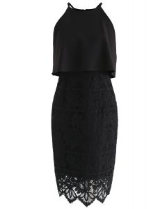 Faith in Glamour Lace Cami Dress in Black
