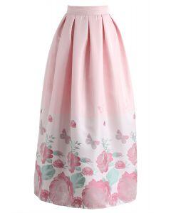 Pink Peony Garden Printed Maxi Skirt