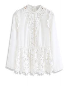 Ramble Through the Woods Crochet Chiffon Top in White
