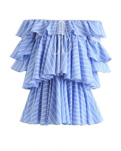 Edgy Inspiration Off-Shoulder Tiered Ruffle Stripe Top