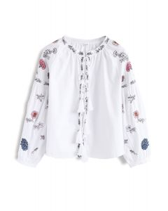 Vivacious Boho Flowers Embroidered Top in White
