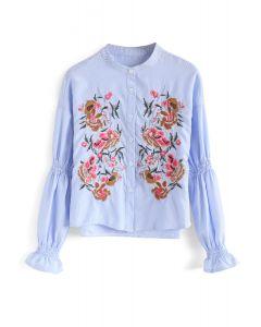 Splendor in Bloom Embroidered Top in Blue Stripes