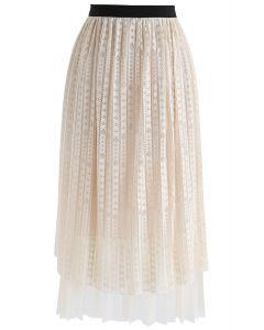 Fabulous Harmony Lace Mesh Skirt in Cream