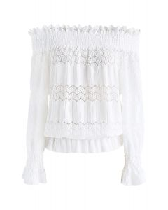 Stay Sweet Ribbed Off-Shoulder Top in White