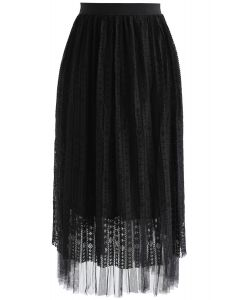 Fabulous Harmony Lace Mesh Skirt in Black