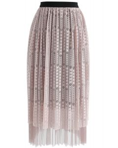 Fabulous Harmony Lace Mesh Skirt in Pink