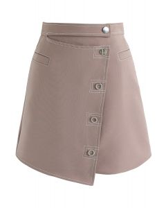 Only You Asymmetric Flap Skirt in Dusty Pink
